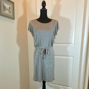 Striped Jersey Dress w/ Ruffled Sleeves